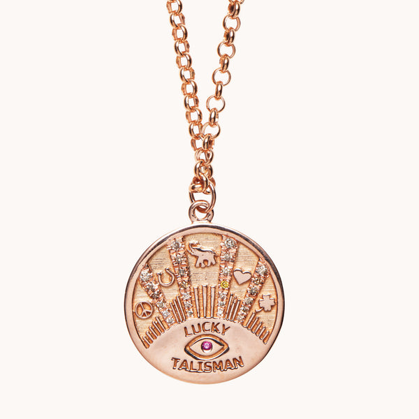 Lucky Talisman Coin Necklace 14k Rose Gold