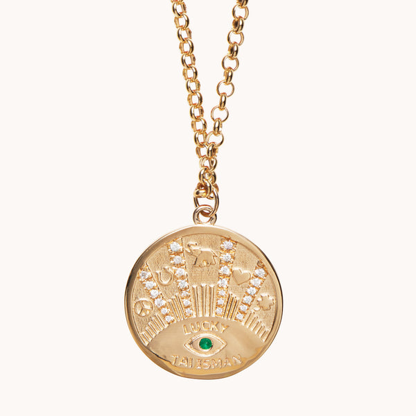 Lucky Talisman Coin Necklace 14k Yellow Gold