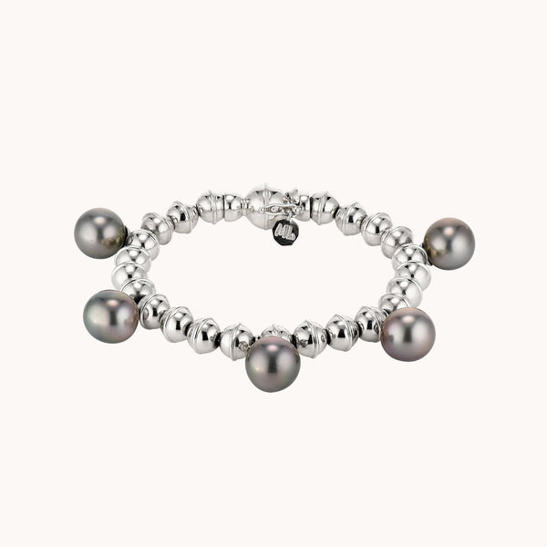 Squash Blossom Bead Bracelet with Tahitian Pearls