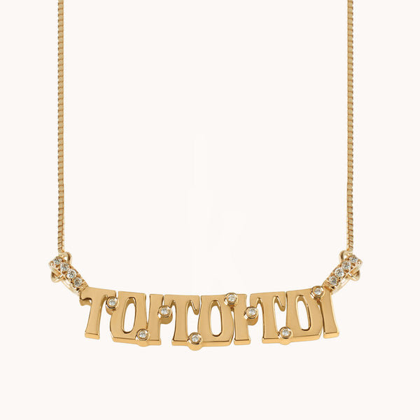 "Wordplate Necklace ""ToiToiToi"", Necklaces - Marlo Laz"