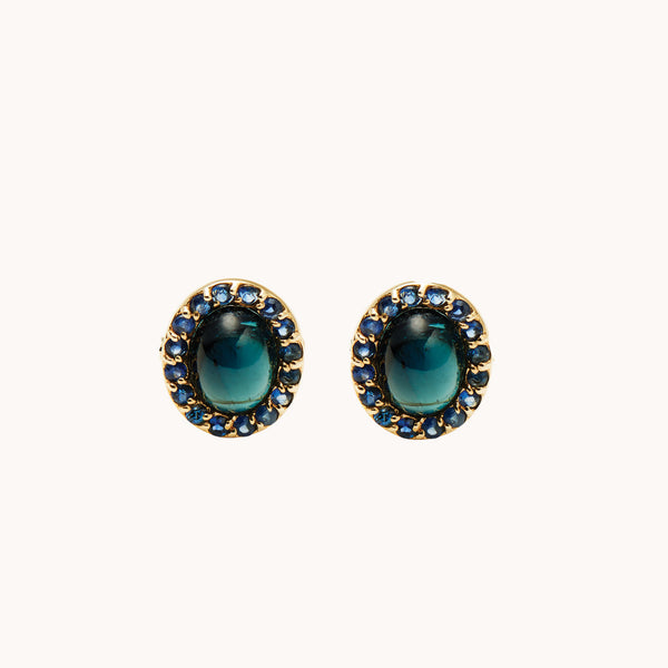 Marlo Laz Retina Studs with blue Sapphires & blue Tourmaline.