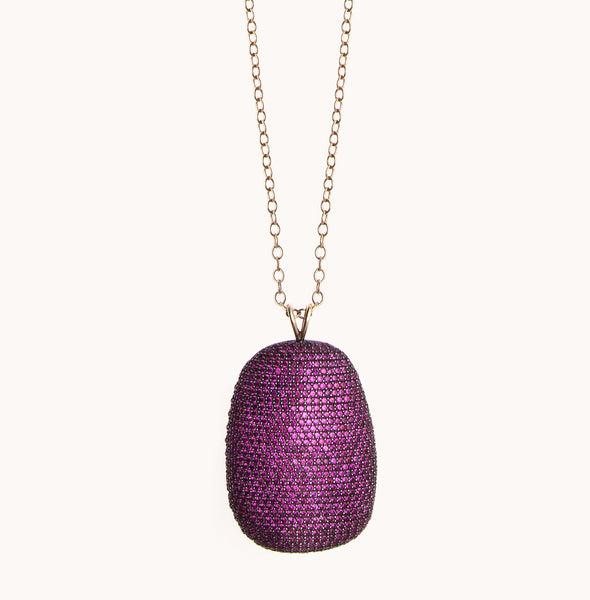 Purple Ruby Stone Pendant Necklace | Marlo Laz Fine Jewelry