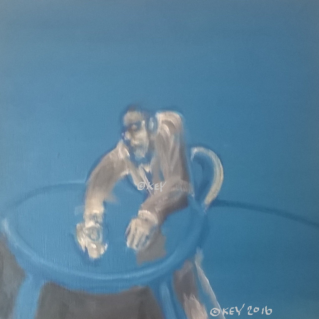 Man Drinking (Blue)