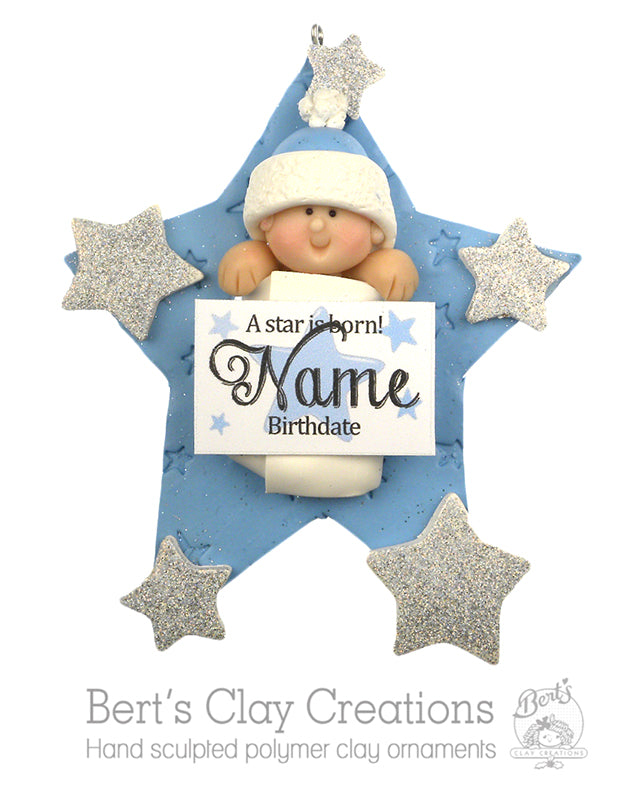 A Star is Born Ornament - With Baby - Bert's Clay Creations