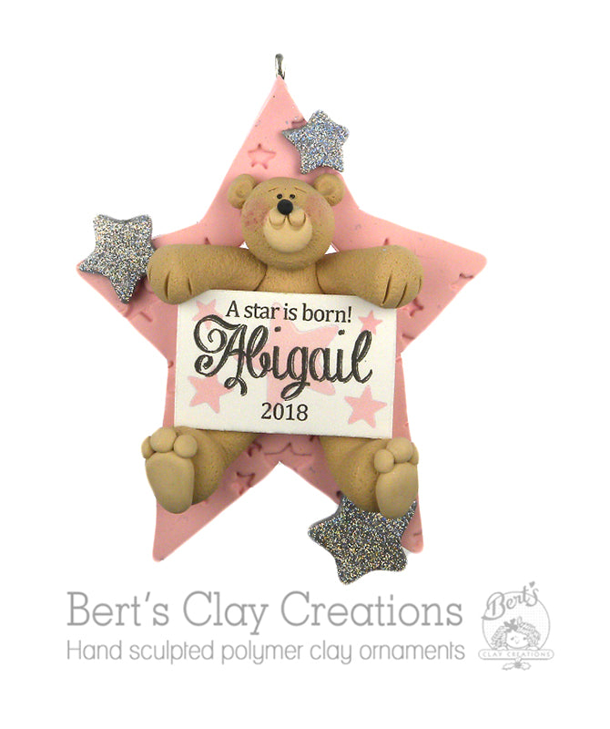 A Star is Born Ornament - With Bear - Bert's Clay Creations