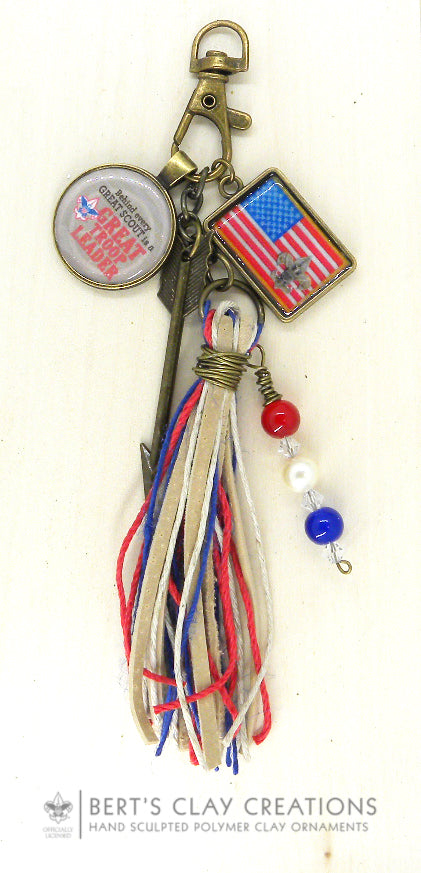 BSA - Purse/Bag Charm/Key Chain Red White & Blue