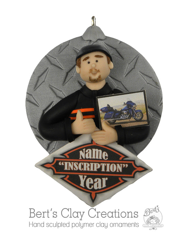 Biker/Motorcycle ornament - Bert's Clay Creations