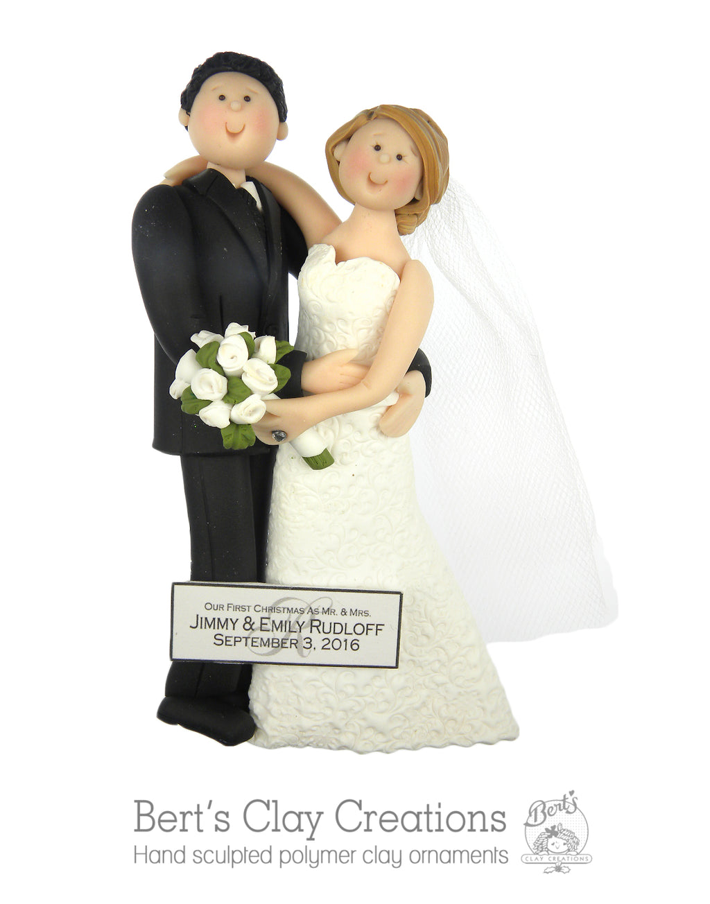 BASIC Bride and Groom Ornament - Bert's Clay Creations