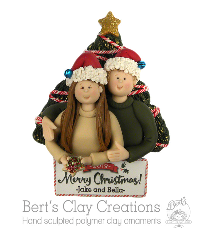 Bert's Classic Christmas - Christmas Couple Ornament - Bert's Clay Creations