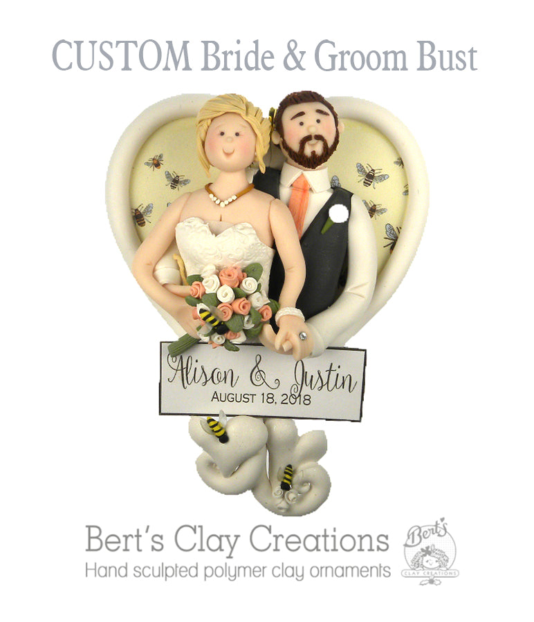 CUSTOM Bride & Groom Heart Bust Ornament Submission Quote