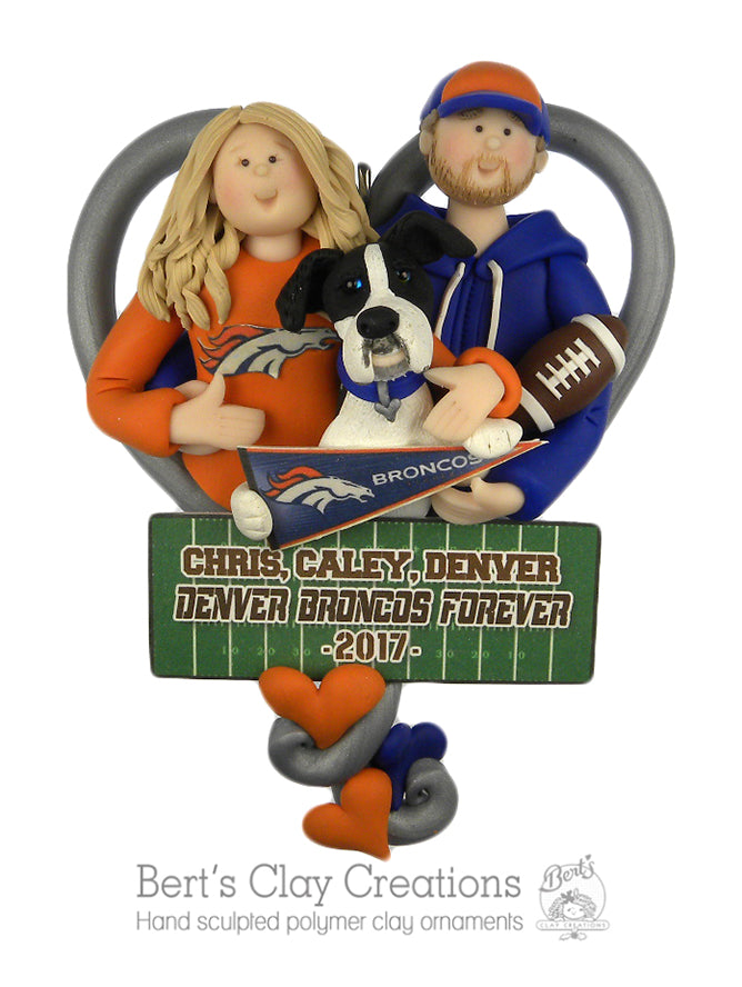 CUSTOM Sports Couple Heart Bust Ornament Submission Quote - Bert's Clay Creations