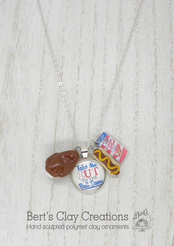 Pendant - Take me out to the ballgame - Bert's Clay Creations
