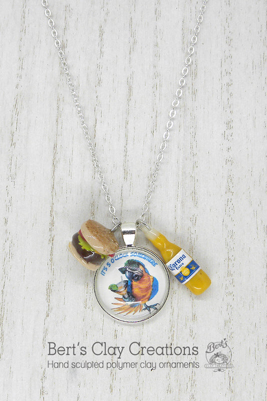Pendant - Is it 5 O'clock yet? - Bert's Clay Creations