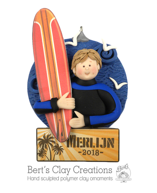 Surfer / Surfing ornament - Bert's Clay Creations
