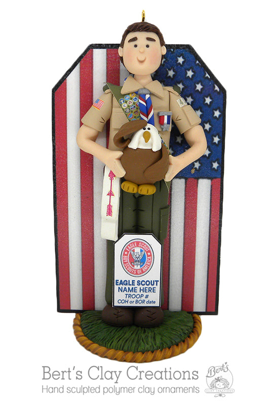 BSA - Eagle Scout Cake Topper AND Ornament Hybrid BASIC - Bert's Clay Creations