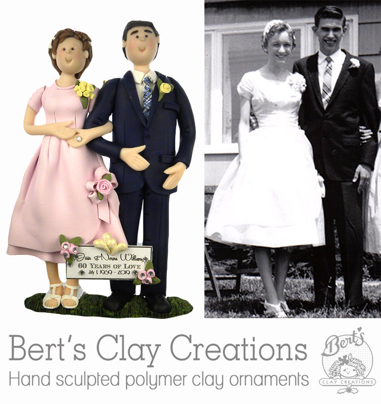 CUSTOM Retro Wedding Ornament Submission Quote - Bert's Clay Creations