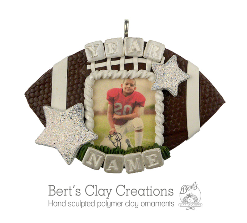 Football Player Photo ornament - Bert's Clay Creations
