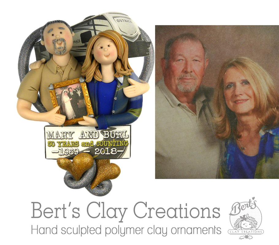 CUSTOM Heart Bust RV or Motor Home Couple Ornament