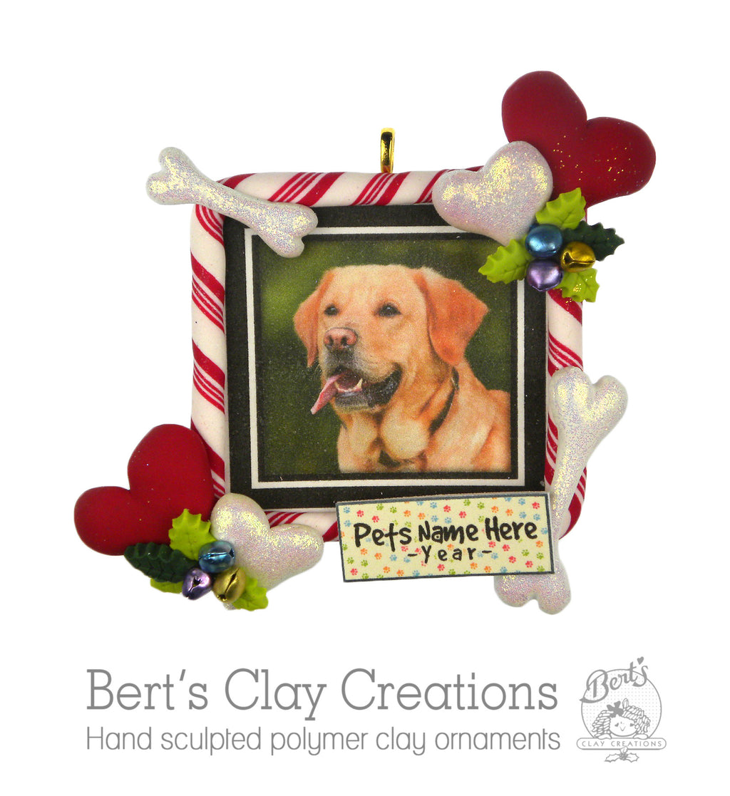 Jolly 'n Bright - Custom Pet Photo Ornament - Bert's Clay Creations
