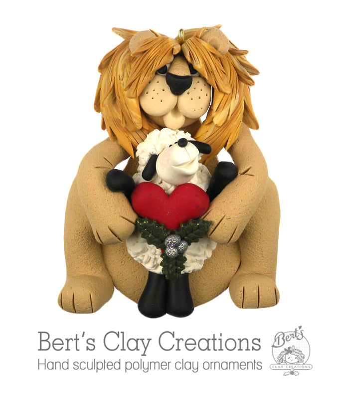 Hallelujah - Lion & Lamb Ornament - Bert's Clay Creations