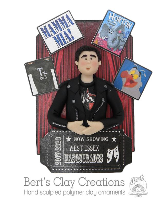 CUSTOM Bust with Background Ornament - Bert's Clay Creations