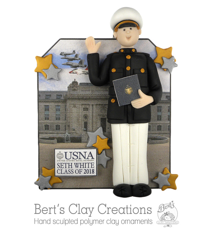 USNA Midshipman Graduate Ornament - Bert's Clay Creations