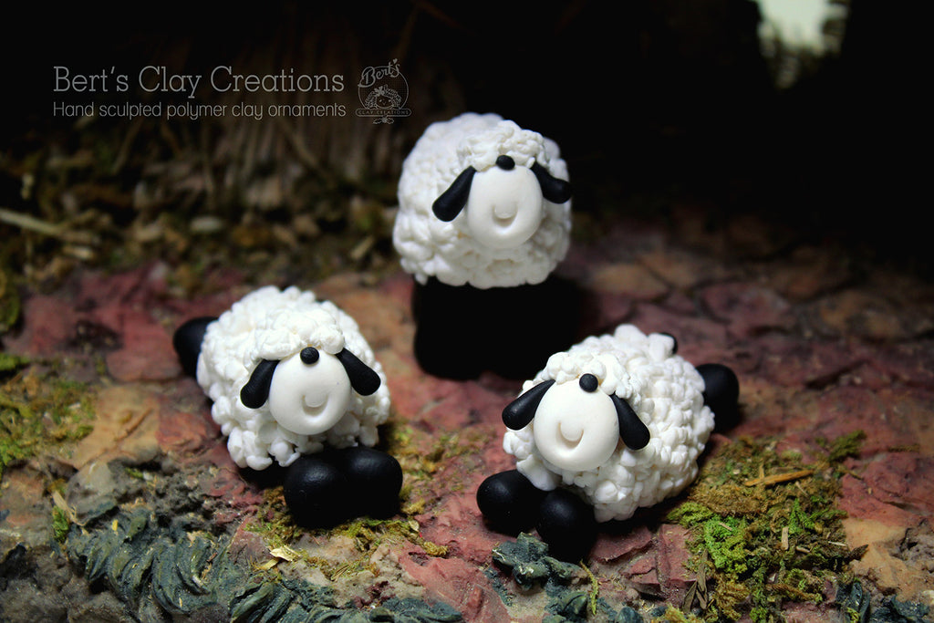 Nativity - Set of 3 sheep - Bert's Clay Creations