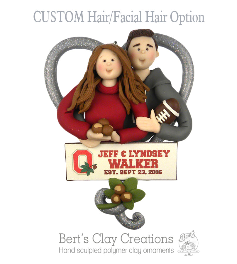 Buckeye Couple Ornament - Bert's Clay Creations