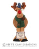 Farmhouse - Rustic Rudolph Ornament - Bert's Clay Creations