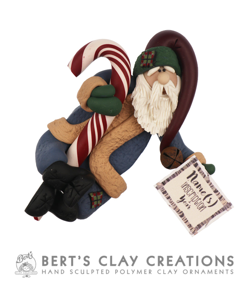 Farmhouse - Rustic Santa Ornament - Bert's Clay Creations