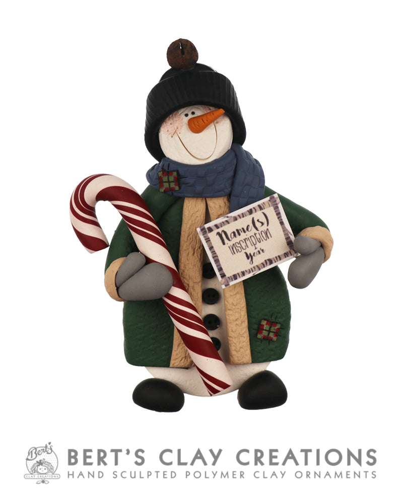 Farmhouse - Rustic Snowman Ornament - Bert's Clay Creations
