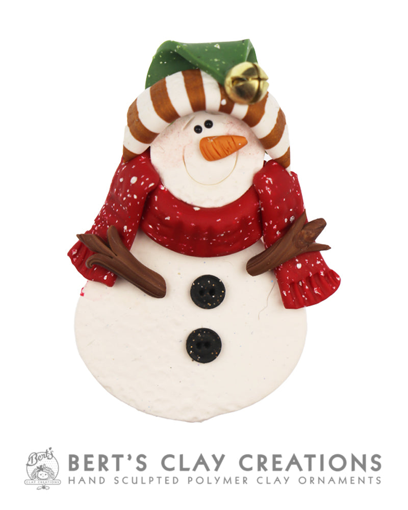 Snowman Brooch - Christmas Colors - Bert's Clay Creations