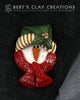 Pin - Snowman Face - Classic Colors - Bert's Clay Creations