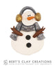 Pin - Snowman - Gold and Silver - Bert's Clay Creations
