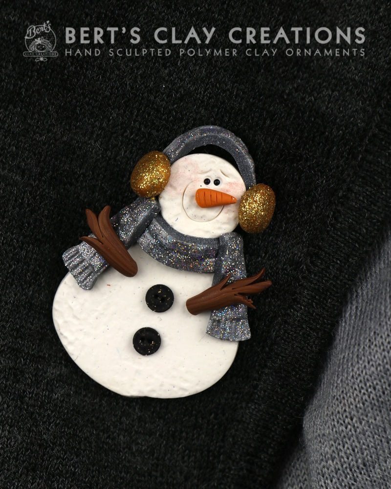 Snowman Brooch- Gold and Silver - Bert's Clay Creations