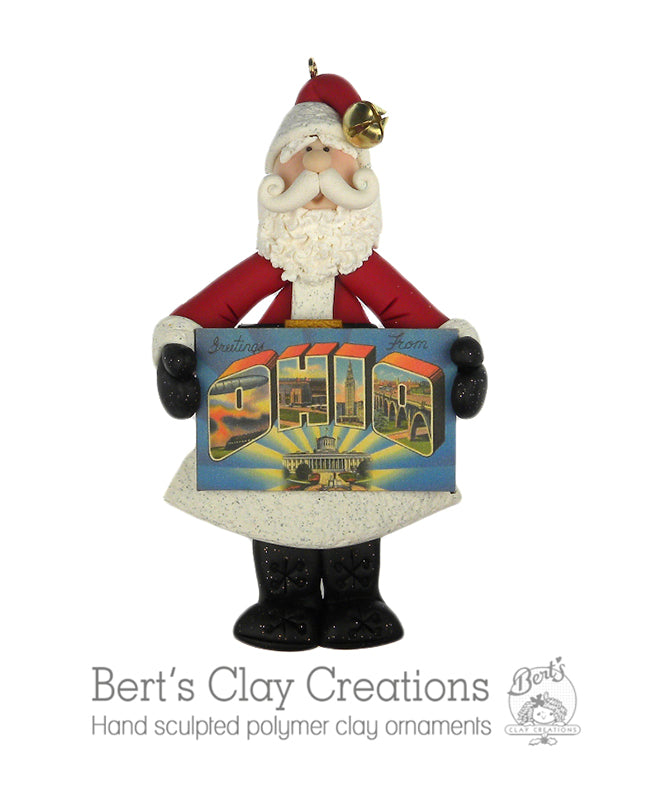 Santa State's Greetings - Bert's Clay Creations