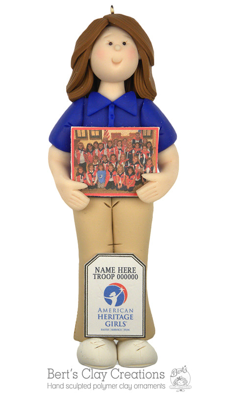 American Heritage Girl TROOP LEADER Ornament - Bert's Clay Creations