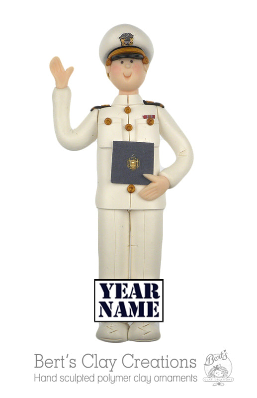 USNA Ornament - White uniform - Male or Female - Bert's Clay Creations