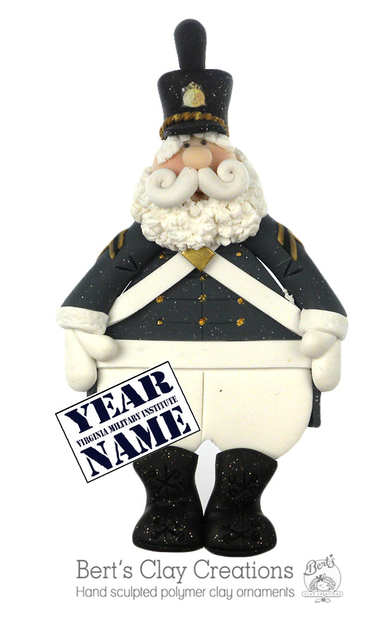 Virginia Military Institute Santa Ornament - Bert's Clay Creations