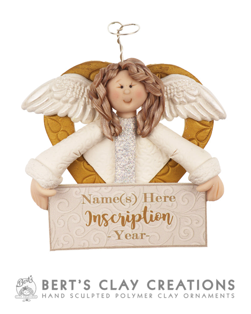 White Christmas - Angel with banner Ornament - Bert's Clay Creations