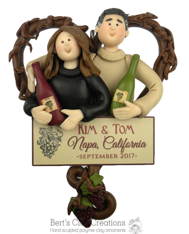 Wine Lovers Couple Ornament - Bert's Clay Creations