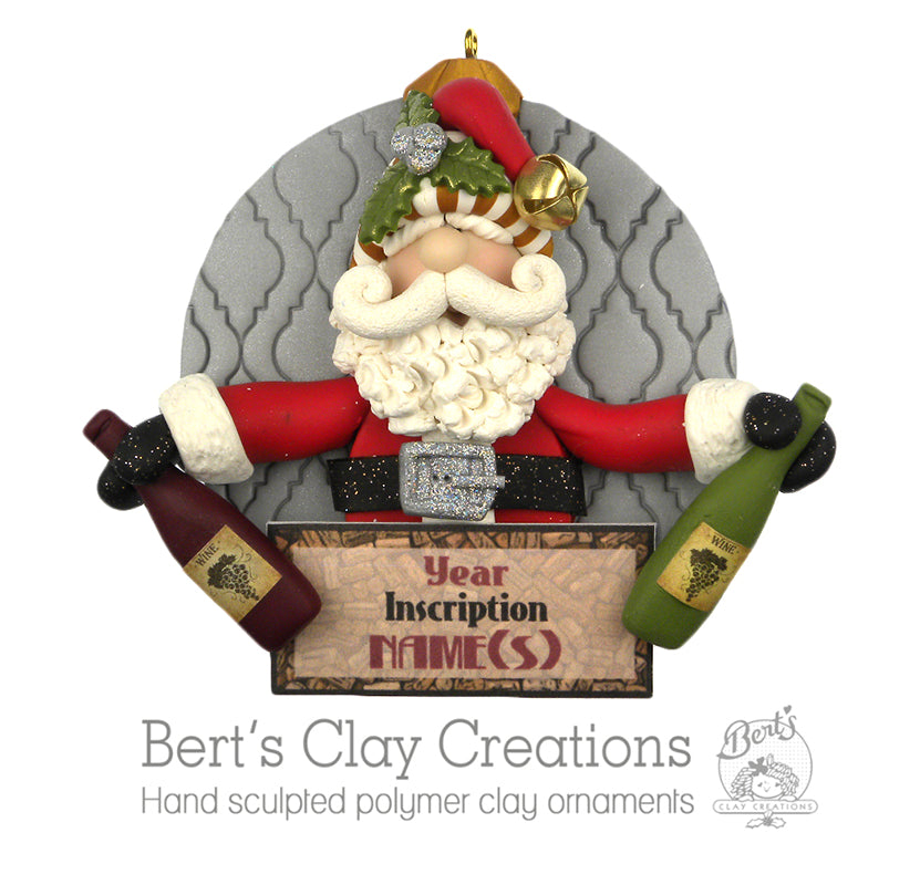 Wine Time Santa - Bert's Clay Creations