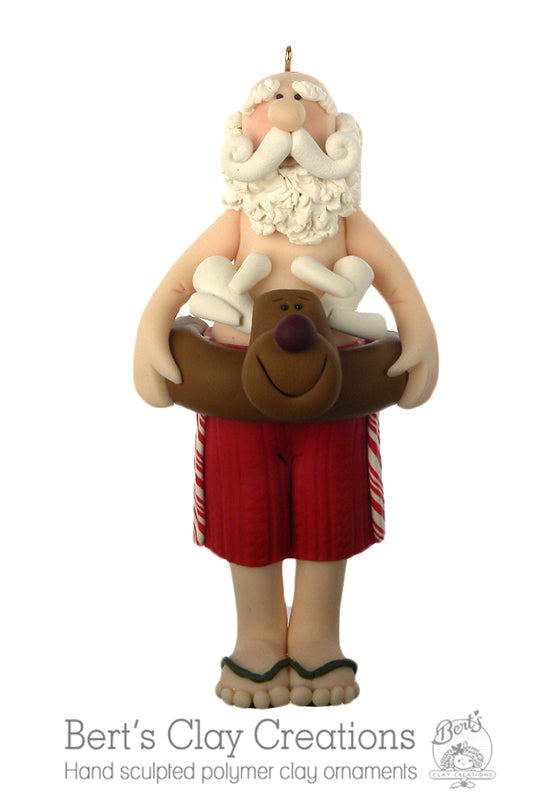Beach Bum Santa Ornament - Bert's Clay Creations