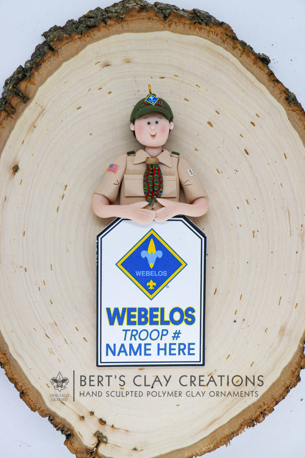 BSA - Webelos Scout Ornament (Bust Version) - Bert's Clay Creations