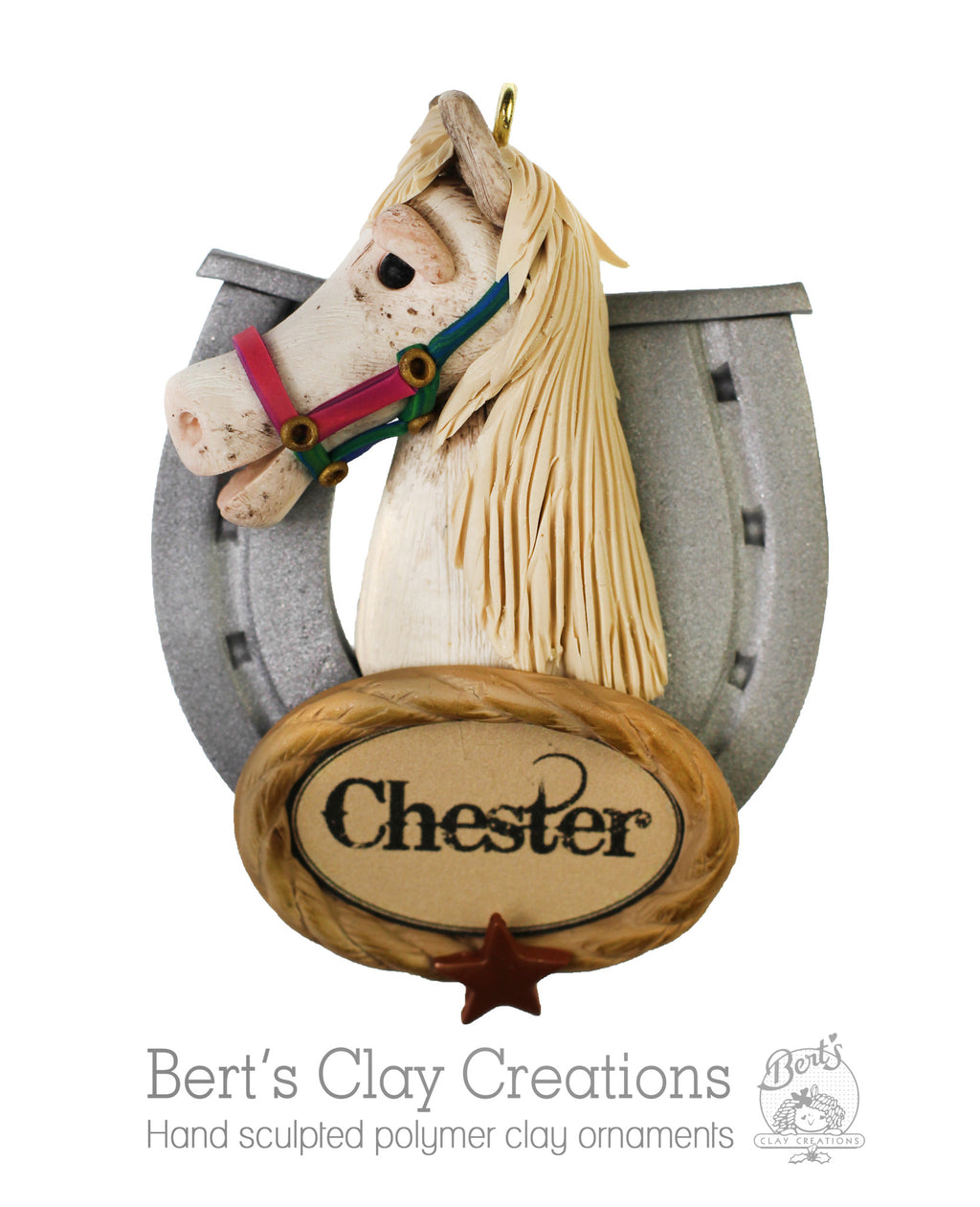 Horse Head Replica Ornament - Bert's Clay Creations
