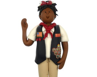 CUSTOM American Heritage Girl Ornament - Bert's Clay Creations