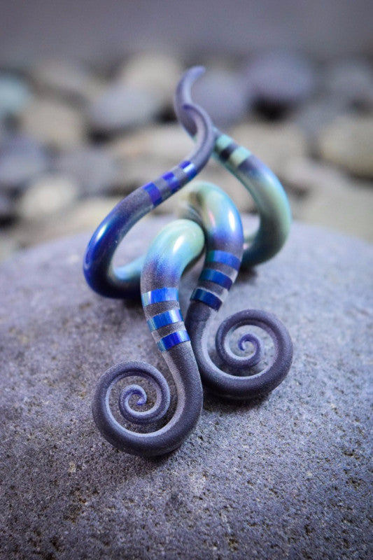 Textured Blue Moon | Mini Drop Spiral Curls | 10G - 0G