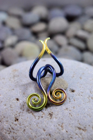 Gold Tipped Green Pearl | Mini Drop Spirals | 14G - 00G