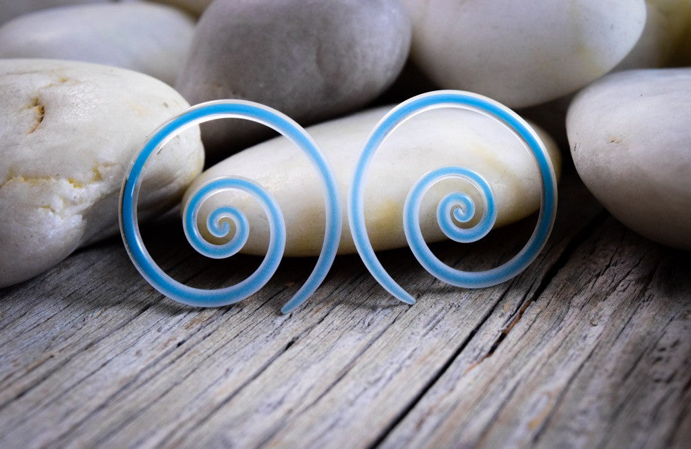 Captured Teal Seaglass | Mini Spirals | 14G - 00G