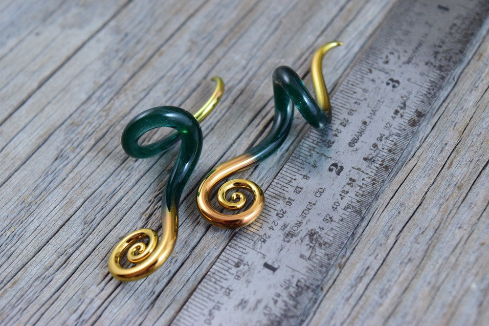 Gold Tipped Sparkle Glacier | Mini Drop Spiral Curls | 14G - 00G